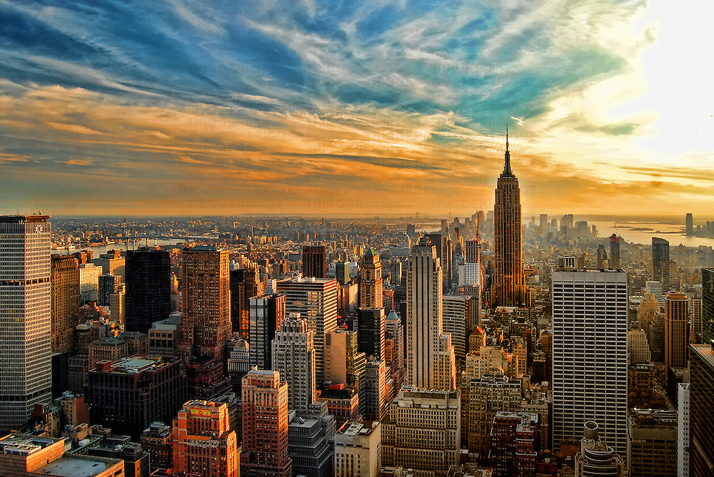 HDR image overlooking southern half of Manhattan, New York City, with Empire State Building.