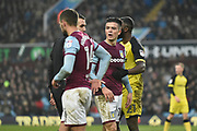 Aston Villa midfielder Jack Grealish (10) argues with Burton Albion midfielder Lloyd Dyer (11) during the EFL Sky Bet Championship match between Aston Villa and Burton Albion at Villa Park, Birmingham, England on 3 February 2018. Picture by Richard Holmes.