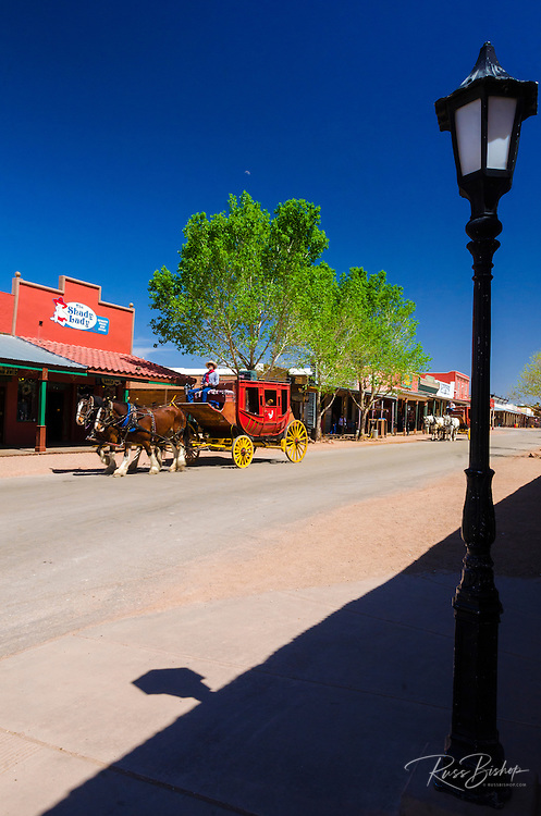 Lamp post and stage coach on Main Sreet, Tombstone, Arizona USA