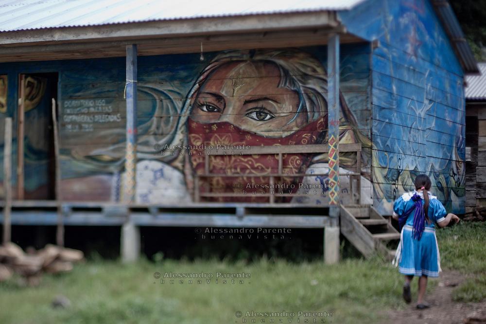 Graffiti of a woman with corn. The corn is a symbol of resistance.<br /> Mural de mujer con mais. El mais es un simbolo de resistencia.