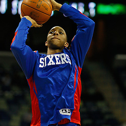 January 3, 2011; New Orleans, LA, USA; Philadelphia 76ers shooting guard Evan Turner (12) during warm ups prior to tip off of a game against the New Orleans Hornets at the New Orleans Arena.   Mandatory Credit: Derick E. Hingle