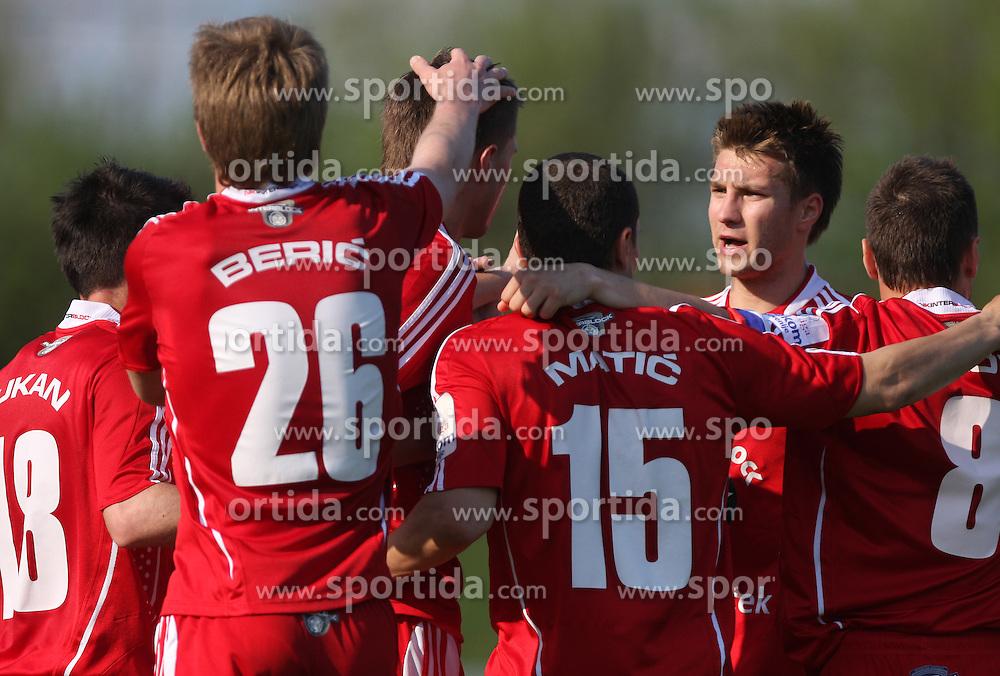 Players (Rok Elsner) of Interblock celebrate at 28th Round of Slovenian First League football match between NK Interblock and ND Hit Gorica ZAK Stadium, on April 11, 2009, in Ljubljana, Slovenia. Gorica won 2:1. (Photo by Vid Ponikvar / Sportida)
