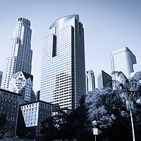 Toned photo of Los Angeles downtown skyscrapers in Southern California in the United States.
