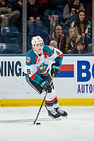 KELOWNA, CANADA - FEBRUARY 8: Kaedan Korczak #6 of the Kelowna Rockets passes the puck against the Prince George Cougars  on February 8, 2019 at Prospera Place in Kelowna, British Columbia, Canada.  (Photo by Marissa Baecker/Getty Images)