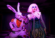Alice's Adventures Underground at The Vaults, Waterloo, London, Great Britain <br /> press photocall <br /> 20th April 2017 <br /> <br /> Rhys Owen as Rabbit <br /> Alice M Richards as Alice <br /> <br /> <br /> Photograph by Elliott Franks <br /> Image licensed to Elliott Franks Photography Services