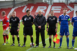 WREXHAM, WALES - Monday, May 2, 2016: Referee Bryn Markham Jones with his assistants before the 129th Welsh Cup Final at the Racecourse Ground between The New Saints and Airbus UK Broughton. (Pic by David Rawcliffe/Propaganda)