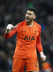 BRITAIN-LONDON-FOOTBALL-CHAPIONS LEAGUE-HOTSPUR VS EINDHOVEN.(181106) -- LONDON, Nov. 6, 2018  Tottenham Hotspur's goalkeeper Paulo Gazzaniga celebrates after the UEFA Champions League match between Tottenham Hotspur and PSV Eindhoven in London, Britain on Nov. 6, 2018. Tottenham Hotspur won 2-1.  FOR EDITORIAL USE ONLY. NOT FOR SALE FOR MARKETING OR ADVERTISING CAMPAIGNS. NO USE WITH UNAUTHORIZED AUDIO, VIDEO, DATA, FIXTURE LISTS, CLUBLEAGUE LOGOS OR ''LIVE'' SERVICES. ONLINE IN-MATCH USE LIMITED TO 45 IMAGES, NO VIDEO EMULATION. NO USE IN BETTING, GAMES OR SINGLE CLUBLEAGUEPLAYER PUBLICATIONS. (Credit Image: © Xinhua via ZUMA Wire)