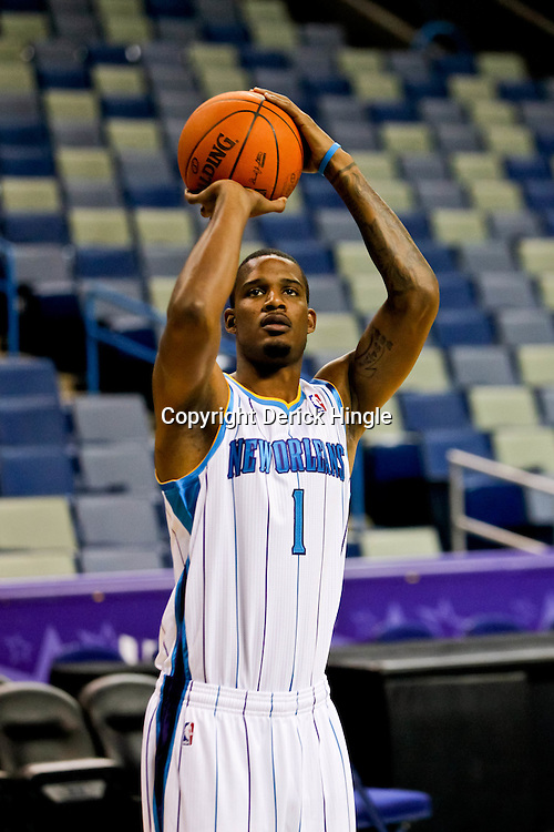 Sep 27, 2010; New Orleans, LA, USA; New Orleans Hornets forward Trevor Ariza (1) poses during media day at the New Orleans Arena. Mandatory Credit: Derick E. Hingle