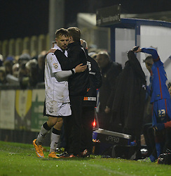 Joe McClennan of Weston Super Mare embraces Weston Super Mare Manager, Micky Bell - Photo mandatory by-line: Alex James/JMP - Mobile: 07966 386802 - 18/11/2014 - SPORT - Football - Weston-super-Mare - Woodspring Stadium - Weston-super-Mare v Doncaster - FA Cup - Round One