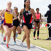 23 March 2018: Danielle Scott (4) competes in the 800 meter open run Friday morning at the 40th Annual Aztec Invitational<br /> More game action at sdsuaztecphotos.com