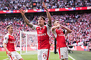 Arsenal defender Hector Bellerin (24), Arsenal midfielder Aaron Ramsey (8), Arsenal defender Rob Holding (16)celebrate goal  during the The FA Cup Final match between Arsenal and Chelsea at Wembley Stadium, London, England on 27 May 2017. Photo by Sebastian Frej.