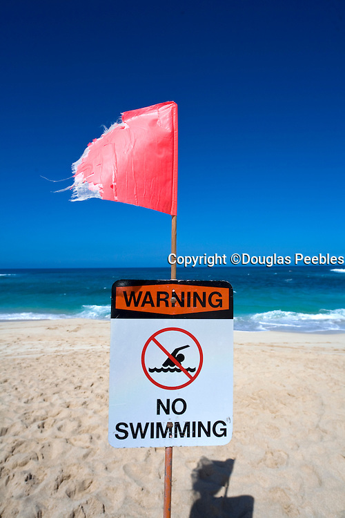 Danger, No swimming, Beach Closed Sign, Sunset Beach, North Shore, Oahu, Hawaii