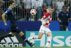 (L-R) Benjamin Pavard of France, Ante Rebic of Croatia during the 2018 FIFA World Cup Russia Final match between France and Croatia at the Luzhniki Stadium on July 15, 2018 in Moscow, Russia