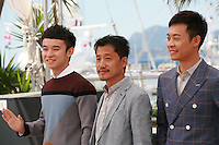 Actors Dong Zijang, Liang Jingdong, Zhang Yi at the Mountains May Depart film photo call at the 68th Cannes Film Festival Tuesday May 20th 2015, Cannes, France.