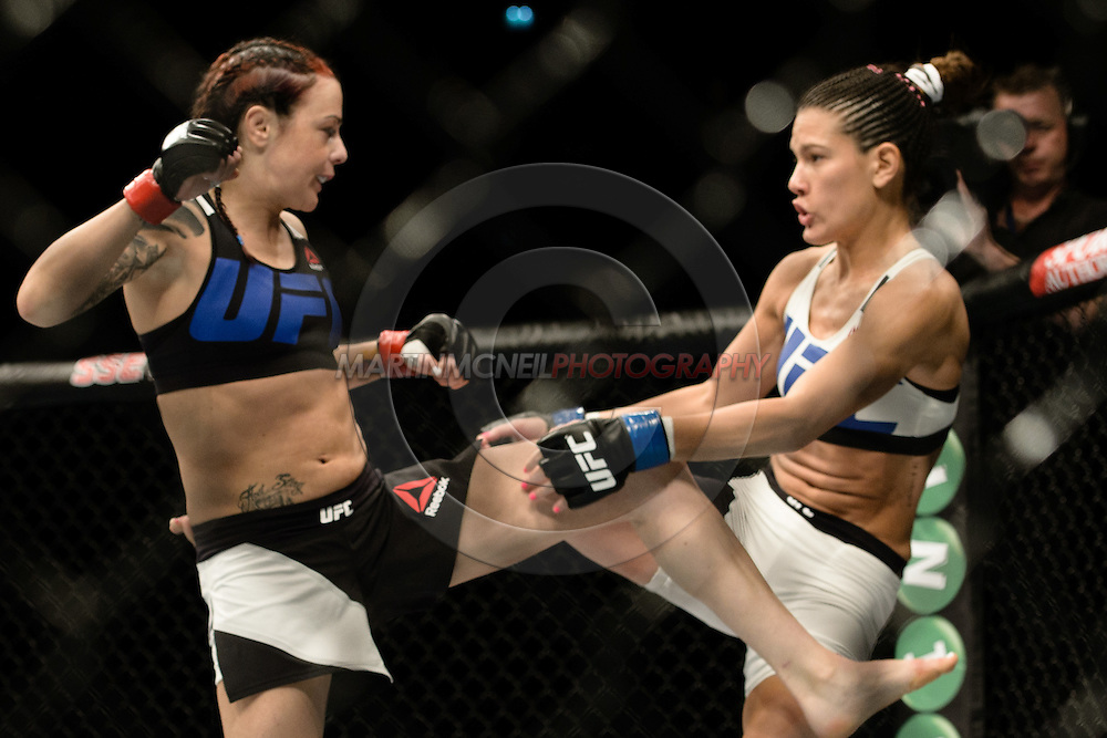 """GLASGOW, SCOTLAND, JULY 18, 2015: Joanne Calderwood (black/blue top) defeats Cortney Casey by unanimous decision during """"UFC Fight Night 72: Bisping vs. Leites"""" inside the SSE Hydro Arena in Glasgow, Scotland (Martin McNeil for ESPN)"""