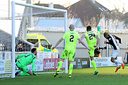 St Mirren forward Simeon Jackson (11) heads the rebound towards the goal but misses during the Ladbrokes Scottish Premiership match between St Mirren and Hibernian at the Paisley 2021 Stadium, St Mirren, Scotland on 27 January 2019.