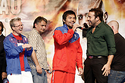 Nov 13, 2009; Las Vegas, NV, USA; Manny Pacquiao addresses the fans during an interview with Jeremy Piven of HBO's Entourage at the MGM Grand Garden Arena in Las Vegas, Nevada.  Mandatory Credit: Ed Mulholland