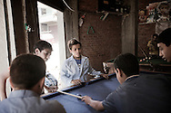 Egypt, Cairo: Young boys play billiards in Moqattam.ph.Christian Minelli...