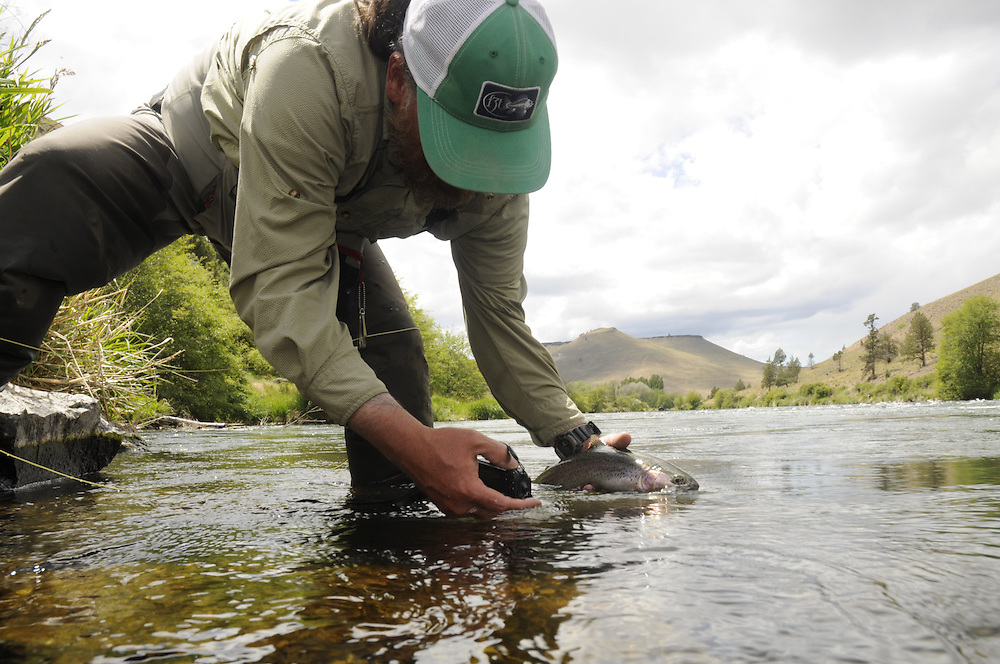An angler takes a photo of a rainbow trout.