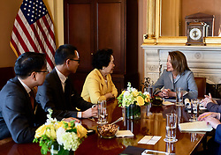March 27, 2019 - Speaker of the US House of Representatives Nancy Pelosi met former HK No.2 deputy, retired Chief Secretary of HKSAR, Anson Chan ( centre ) and her delegate pro-democracy lawmakers Dennis Kwok and Charles Peter Mok in Washington. ( Credit as : Handout by Civic Party HK via ZUMA ) Mar-28,2019 Hong Kong.ZUMALiau Chung-ren (Credit Image: © Liau Chung-renZUMA Wire)