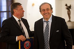 Zoran Jankovic, Mayor of Ljubljana and Michel François Platini, president of Union of European Football Associations (UEFA)  at visit of M. Platini in Slovenia prior to the UEFA European Under-17 Championship Final match between Germany and Netherlands on May 16, 2012 in City Hall, Ljubljana, Slovenia. (Photo by Vid Ponikvar / Sportida.com)