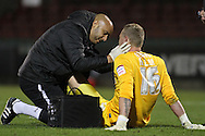Picture by David Horn/Focus Images Ltd +44 7545 970036.16/10/2012.Ryan Allsop of Leyton Orient receives treatment during the npower League 1 match at the Matchroom Stadium, London.