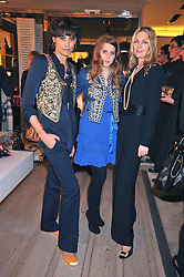 Left to right, INES DE LA FRESSANGE, PRINCESS BEATRICE OF YORK and PRICILLA WATERS at a reception in aid of Children in Crisis held at the Roger Vivier store, 188 Sloane Street, London on 19th March 2009.