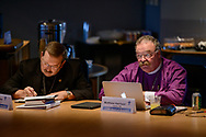 The Rev. Dr. Matthew Harrison, LCMS president, and the Rev. Dr. Herbert Mueller Jr., LCMS First Vice-President, listen during a Board of Directors meeting on Friday, Aug. 25, 2017, at the International Center of The Lutheran Church–Missouri Synod in St. Louis. LCMS Communications/Erik M. Lunsford