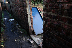 © Licensed to London News Pictures. 29/12/15<br /> York, UK. <br /> <br /> The back door to a garden at premises on Huntington Road in York that was broken into when the occupants were away as the street flooded and residents were evacuated. Further rainfall is expected over coming days as Storm Frank approaches the east coast of the country.<br /> <br /> Photo credit : Ian Forsyth/LNP