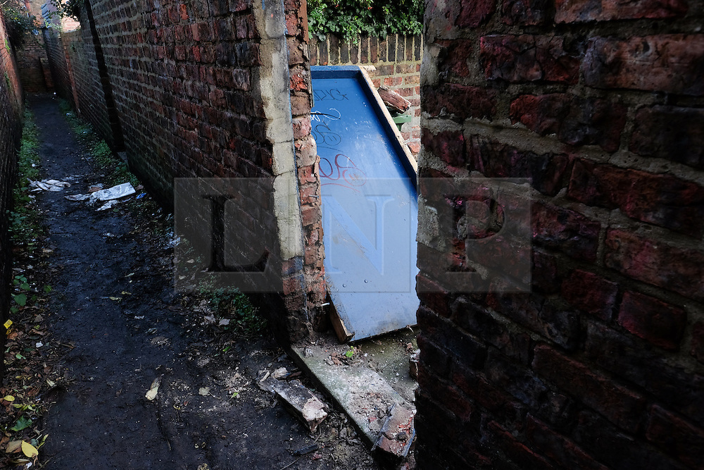 &copy; Licensed to London News Pictures. 29/12/15<br /> York, UK. <br /> <br /> The back door to a garden at premises on Huntington Road in York that was broken into when the occupants were away as the street flooded and residents were evacuated. Further rainfall is expected over coming days as Storm Frank approaches the east coast of the country.<br /> <br /> Photo credit : Ian Forsyth/LNP