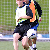 St Johnstone training...08.10.01<br />Jim Weir in training this morning with Darren Jackson<br />See story by Gordon Bannerman Tel: 01738 553978<br /><br />Picture by Graeme Hart<br />Copyright Perthshire Picture Agency<br />Tel: 01738 623350  Mobile: 07990 594431