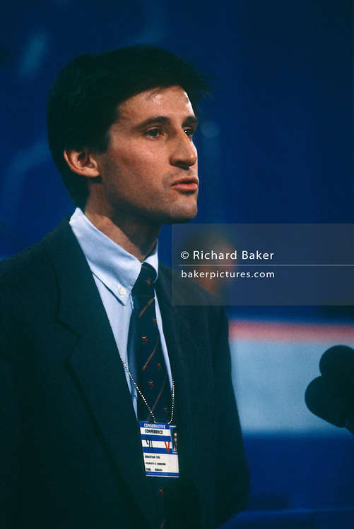Sebastian Coe speaks at the Conservative party conference on 11th October 1991 in Blackpool, England. Coe was later Member of Parliament for Falmouth and Camborne from April 1992 – 1997.