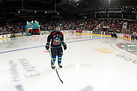 KELOWNA, BC - SEPTEMBER 21:  The minor hockey player of the game skates to the blue line during opening ceremonies at the Kelowna Rockets against the Spokane Chiefs  at Prospera Place on September 21, 2019 in Kelowna, Canada. (Photo by Marissa Baecker/Shoot the Breeze)