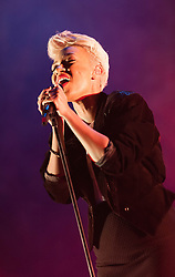 © Licensed to London News Pictures. 08/04/2013. London, UK.   Emeli Sandé performing live at Hammersmith Apollo. Adele Emeli Sandé Gouraguine, better known as Emeli Sandé, is an English-born Scottish recording artist and songwriter.  Photo credit : Richard Isaac/LNP