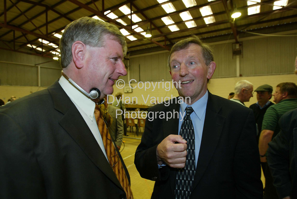 18/5/2002 .Fianna Fail candidates Liam Aylward (left) and MJ Nolan pictured at the Carlow Kilkenny count in the community centre in Thomastown County Kilkenny..Picture Dylan Vaughan