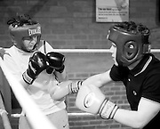 Monifieth Athletic Under 14s football club are doing boxing training at Lochee Boys Club to improve their overall fitness. .- © David Young -.5 Foundry Place - .Monifieth - .Angus - .DD5 4BB - .Tel: 07765 252616 - .email: davidyoungphoto@gmail.com - .http://www.davidyoungphoto.co.uk