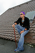 punk posing on roof top