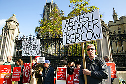 © Licensed to London News Pictures. 22/10/2019. London, UK. Pro-Brexit supporters carry placards saying 'Arrest sSpeaker Bercow' as they protest outside The Houses of Parliament as MPs begin scrutinising the Brexit Bill in the House of Commons. Photo credit: Dinendra Haria/LNP