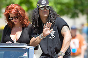 Rock guitarist Slash seen in the IPL 500 Festival Parade in Indianapolis. Photo by Michael Hickey
