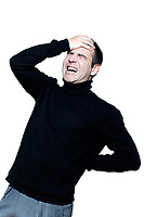caucasian man portrait backache pain portrait on studio isolated white background