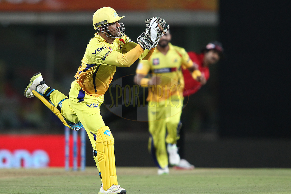 MS Dhoni captain of The Chennai Super Kings takes the catch to get Robin Uthappa of the Kolkata Knight Riders wicket during match 21 of the Pepsi Indian Premier League Season 2014 between the Chennai Superkings and the Kolkata Knight Riders  held at the JSCA International Cricket Stadium, Ranch, India on the 2nd May  2014<br /> <br /> Photo by Shaun Roy / IPL / SPORTZPICS<br /> <br /> <br /> <br /> Image use subject to terms and conditions which can be found here:  http://sportzpics.photoshelter.com/gallery/Pepsi-IPL-Image-terms-and-conditions/G00004VW1IVJ.gB0/C0000TScjhBM6ikg
