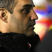 NASCAR Sprint Cup driver Juan Pablo Montoya (42)  is seen prior to the NASCAR Sprint Unlimited Race at Daytona International Speedway on Saturday, February 16, 2013 in Daytona Beach, Florida.  (AP Photo/Alex Menendez)