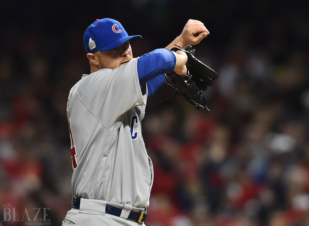 Oct 25, 2016; Cleveland, OH, USA; Chicago Cubs starting pitcher Jon Lester reacts against the Cleveland Indians in the first inning in game one of the 2016 World Series at Progressive Field. Mandatory Credit: Ken Blaze-USA TODAY Sports
