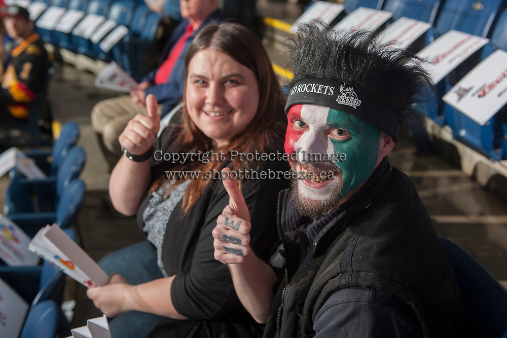KELOWNA, CANADA - APRIL 25: Fans with their game face on April 25, 2017 at Prospera Place in Kelowna, British Columbia, Canada.  (Photo by Marissa Baecker/Shoot the Breeze)  *** Local Caption ***