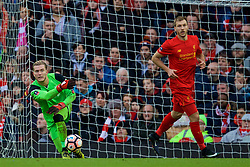 LIVERPOOL, ENGLAND - Saturday, January 28, 2017: Liverpool's goalkeeper Loris Karius rolls the ball out against Wolverhampton Wanderers during the FA Cup 4th Round match at Anfield. (Pic by David Rawcliffe/Propaganda)