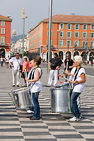 Drummers playing at Place Masséna in Nice the South of France