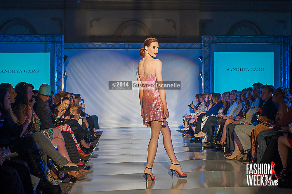 FASHION WEEK NEW ORLEANS: Designer Sandhya Garg show case her design on the runway at the Board of Trade, Fashion Week New Orleans on Wednesday March 19. 2014. #FWNOLA, #FashionWeekNOLA, #Design #FashionWeekNewOrleans, #NOLA, #Fashion #BoardofTrade, #GustavoEscanelle, #TraceeDundas , #romeyRoe, #DominiqueWhite . View more photos at <br /> http://Gustavo.photoshelter.com.