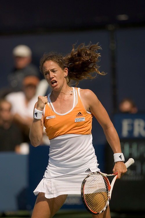 La Costa, San Diego, CA - August 5th, 2007 - Patty Schnyder from Switzerland expresses jubilation after winning the second set against Maria Sharapova from Russia, during the finals at the Acura Classic tennis tournament in La Costa near San Diego, CA. Sharapova won 6-2 3-6 6-0. - Photo by Wally Nell
