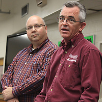 RAY VAN DUSEN/BUY AT PHOTOS.MONROECOUNTYJOURNAL.COM<br /> Kemira representatives Rob Hoffman, left, and Michael Ray spoke about the chemical plant's needs when hiring new employees during last week's Aberdeen School District's P-16 Council meeting.