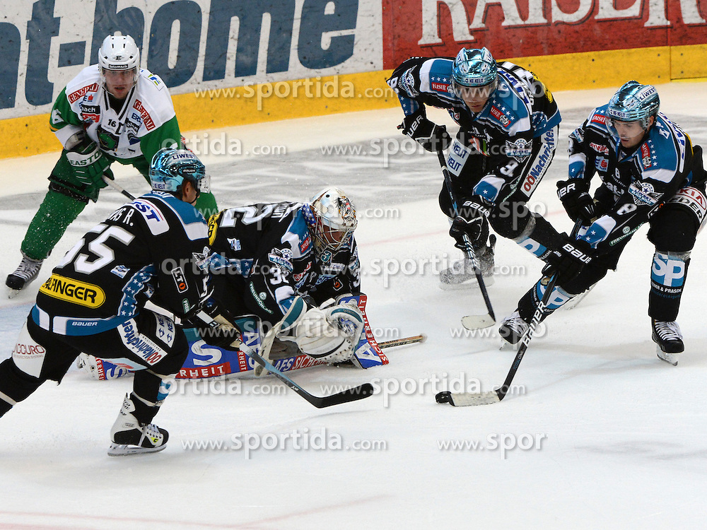 09.09.2012, Keine Sorgen Eisarena, Linz, AUT, EBEL, EHC Liwest Black Wings Linz vs HDD Telemach Olimpija Ljubljana, 2. Runde, im Bild Alex Westlund, Michael Mayr, Robert Lukas, Martin Grabher Meier (EHC Liwest Black Wings Linz, #32, #8, #55, #91) during the Erste Bank Icehockey League 2nd Round match between EHC Black Wings Linz and HDD Telemach Olimpija Ljubljana at the Keine Sorgen Icearena, Linz, Austria on 2012/09/09. EXPA Pictures © 2012, PhotoCredit: EXPA/ Reinhard Eisenbauer